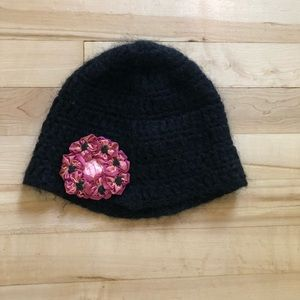 Anthropologie winter hat with silk flower patch